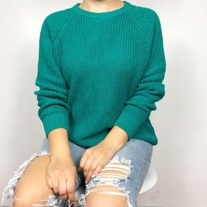 VINTAGE | Emerald Green Oversized Chunky Sweater